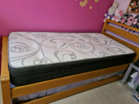 Single trundle bed with 2 mattresses