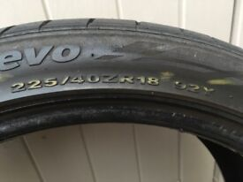2 x 225 40 18 tyres, 1 continental and 1 ventus evo