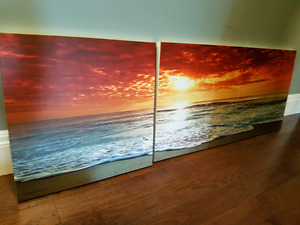 Set of three sunset pictures