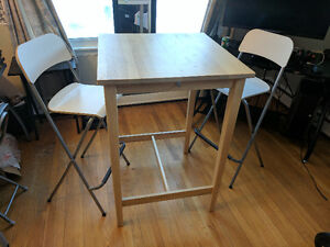 Ikea bar table with chairs