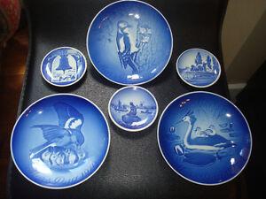 6 pcs. Vintage Copenhagen Blue Plates