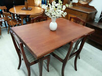 Dining Set with 4 Chairs and 2 Extendable Leafs on Both Sides