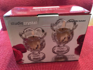 new in box CRYSTAL VOTIVE CANDLE HOLDERS