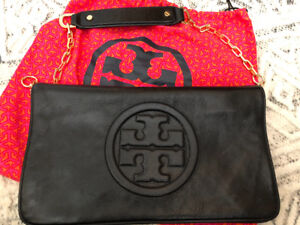 Tory Burch black leather (with gold) purse