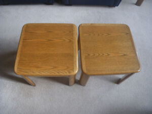 Small Side Tables (x2)  Solid Oak