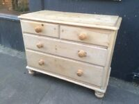 Old Vintage Wax Pine Chest of Bedroom Drawers