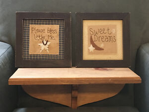 Wooden shelf and 2 country frames