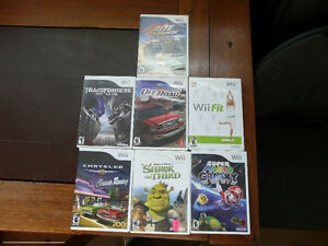 10 Wii Games and 3 wheels