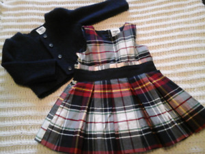 Oshkosh Plaid Dress and Cardigan 12 Mths