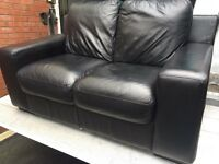 2 & 2 BLACK LEATHER SOFA SET
