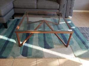 """Wood & Glass Coffee Table. 36"""" Square. Save $430."""
