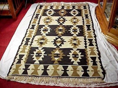 Native American Style HAND WOVEN FLAT WEAVE AREA RUG