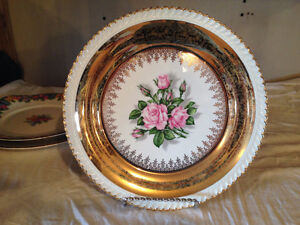 Antique/Vintage Collectors Plates Decorated with 22K Gold