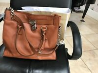 Michael Kors brand new Hamilton large satchel brown leather handbag