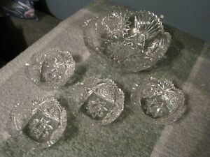 Vintage Pinwheel Crystal Fruit Bowl And Serving Dishes