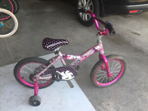 Pink and silver girls bike with training wheels!!