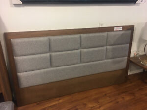 Beautiful walnut wood and grey fabric king size headboard