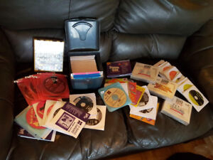 Karaoke player, Discs, hard drive, and books for sale