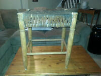 Antique Leather and Wood Stool