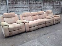 fabric 3 seater + 2 seater recliner sofa used condition only £120 good bargain call now