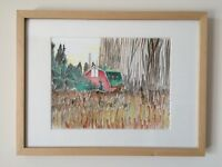 Framed Original Watercolor of Vancouver Barn