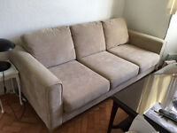 3 piece suits fabric cream chenille sofa armchair 3 seater beige storage foot stool like new