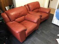 Burgundy lether sofa