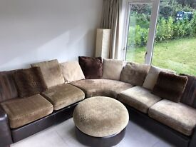 Large Leather and fabric 8 seater Corner sofa
