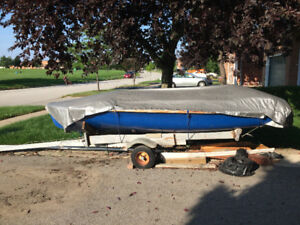 Club 420 Dinghy on Trailer