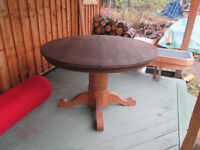 Antique solid oak dining table and leaf
