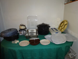 Roasting pans, deep pot, camping dishes, trays, kettles