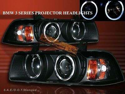 - 92-98 BMW E36 3 SERIES 2 DOOR COUPE TWO HALO PROJECTOR BLACK AMBER HEADLIGHTS