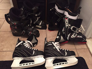 2 Ski boots and skates size 9.5 good condition