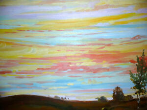 "Vintage Oil by Peter Stoyan (Stoyanoff) ""Sunset"", AOCA, 1952 Stratford Kitchener Area image 7"