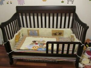 Wood Crib that converts to day bed with brand new mattress Cambridge Kitchener Area image 1