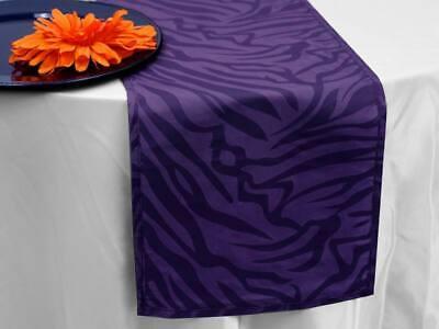 "Purple ZEBRA TABLE RUNNER 12 x 108"" ANIMAL SAFARI JUNGLE Wed"