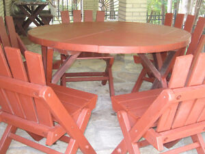 Redwood Table /chairs/umbrella/lounge chair & Bench