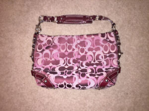 Coach satchel purse - Jacquard pattern - Maroon hint of purple