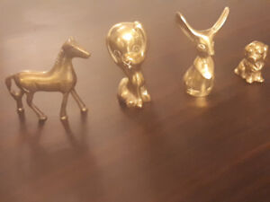 4 Vintage Brass Animal Ornaments