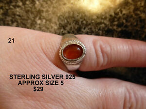 STERLING RING AMBER STONE