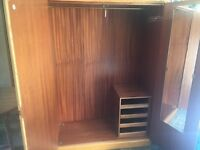 Solid Oak Double Wardrobe with Mini Drawers + Mirror - CAN DELIVER