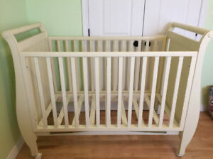 Solid wood crib, dresser and shelf.