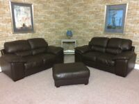 SOFAS**BEAUTIFUL BROWN LEATHER SUITE**DELIVERY AVAILABLE**