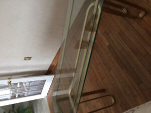 Glass and brass sofa table