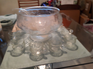 Decorative vintage punch bowl and glasses