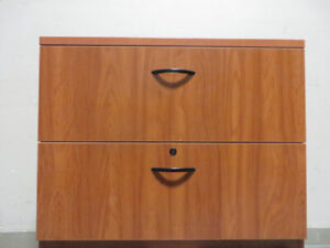 Laminate Finished Wooden 2 Drawer Lateral Filing Cabinet , Lock