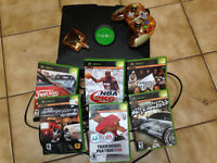 XBox with controller and games