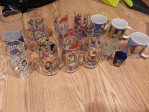 Collectible glasses Disney star wars simpsons