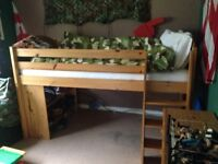 Mid sleeper Pine Bed for sale. £100