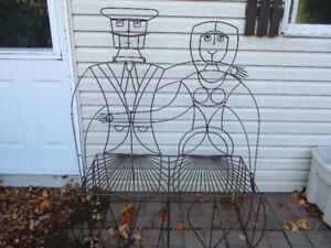 One of a Kind Custom made Wrought Iron Loveseat/Bench